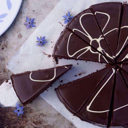 Afbeeldingen van Chocoladetaart - 20 cm of half